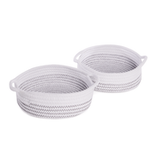 Cotton Rope Storage Baskets - Set of 2 | M&W White with Black Thread