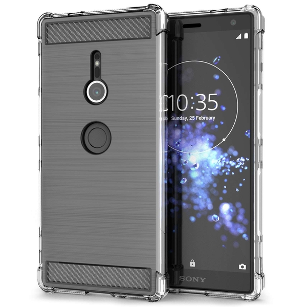 Sony Xperia XZ2 Carbon Anti Fall TPU Case - Clear - Image 1