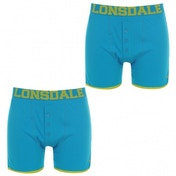 Lonsdale 2 Pack Mens Boxers Bright Blue & Lime Green Large
