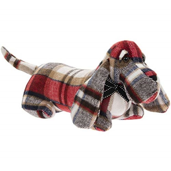 Red Check Dachshund Sausage Dog Doorstop By Lesser & Pavey