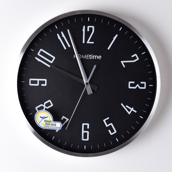 HOMETIME Metal Wall Clock with Silent Sweep Movement White