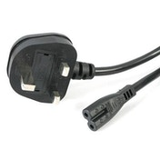 StarTech BS-1363 UK Mains to IEC 60320 C7 1.8m Black Retail Packaged Power Cable