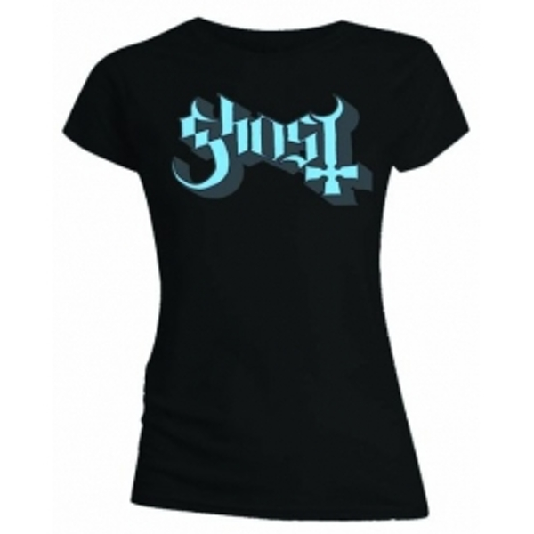 Ghost Blue Grey Keyline Logo Skinny Ladies T Shirt: X Larg