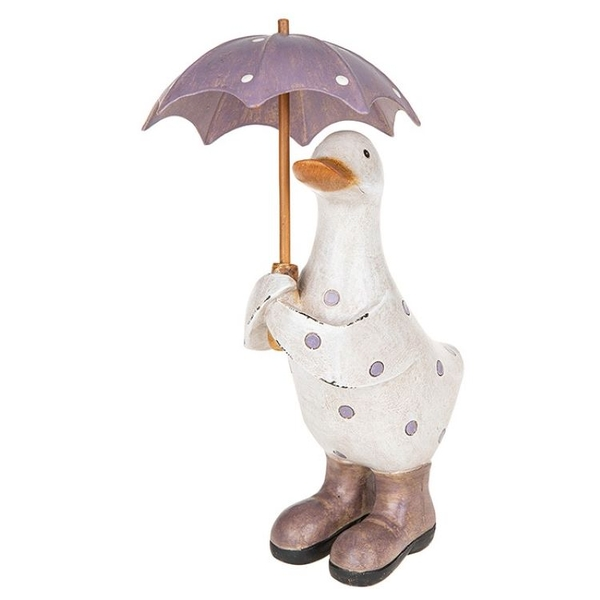 Polka Dot Brolly Duck Small Lilac Ornament