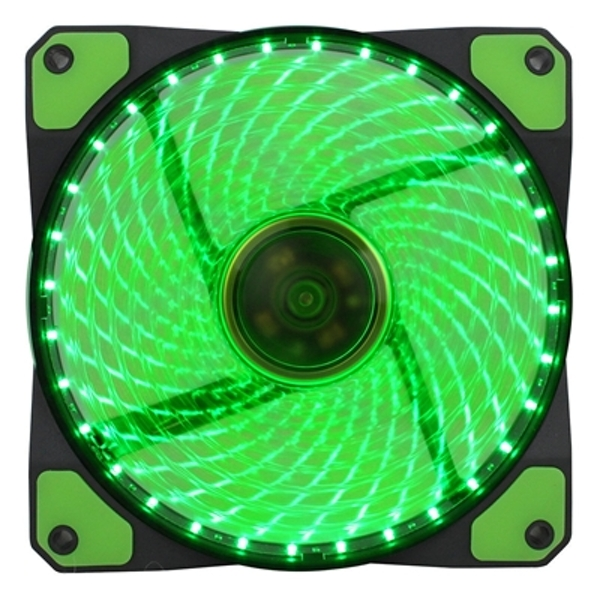 Evo Labs Vegas 120mm 1300RPM 32 x Green LED 9 Blade Fan - Image 1