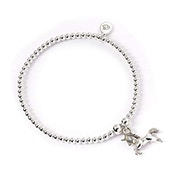 Unicorn Charm with Sterling Silver Ball Bead Bracelet