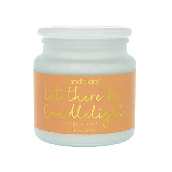 Large Frosted Wax Filled Glass Jar Let There Be Candlelight - Orangeblossom Musk Scent