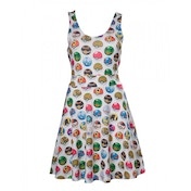 Pokemon Woman's All-over Pokeball Printed Sleeveless Large Dress - Grey