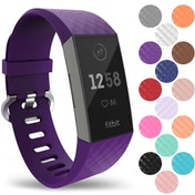 YouSave Silicone Strap - Large - Plum compatible with Fitbit Charge 3
