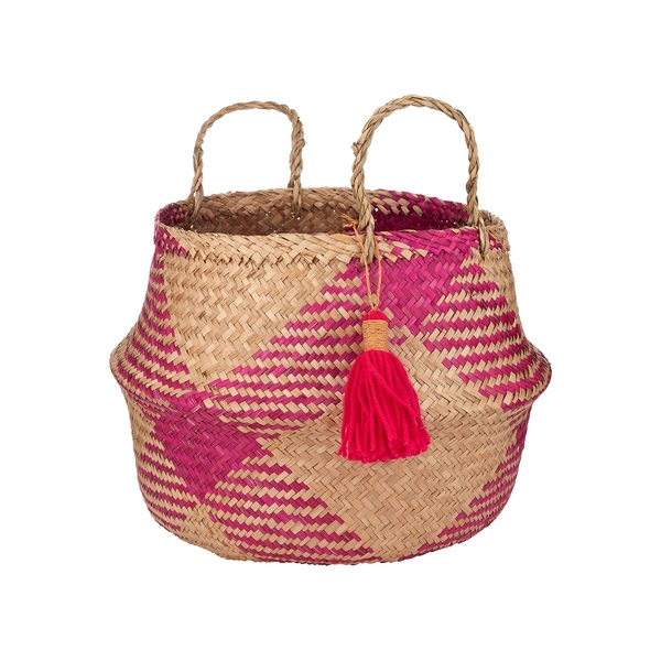 Sass & Belle Pink Tribal Tassel Basket