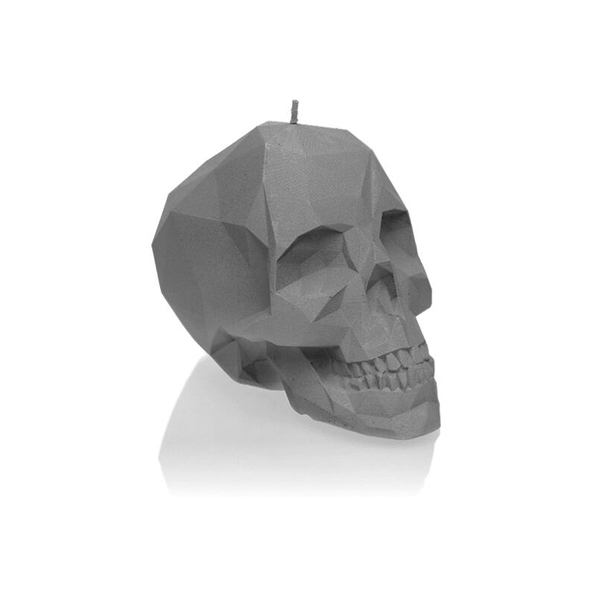 Gray Matt Large Low Poly Skull