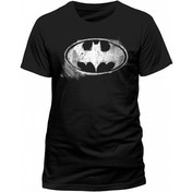 Batman - Logo Mono Distressed Men's XXXX-Large T-Shirt - Black