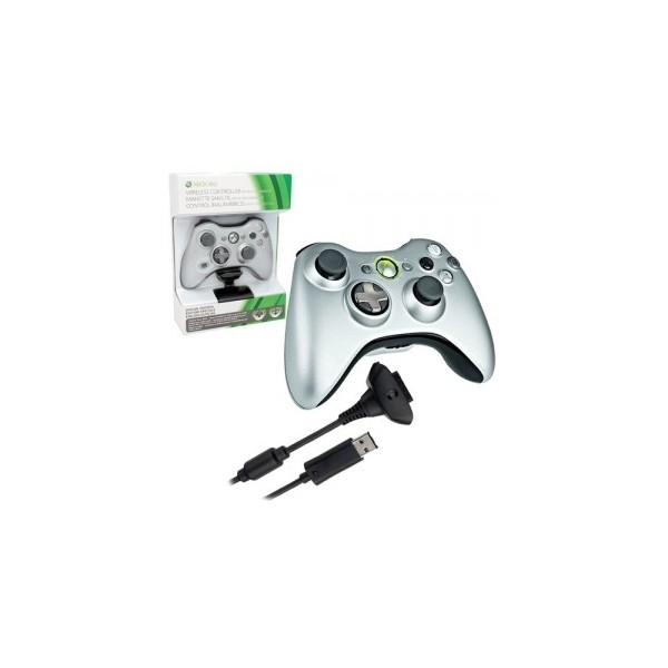Official Wireless Silver Controller + Play & Charge Kit Xbox 360 - Image 2