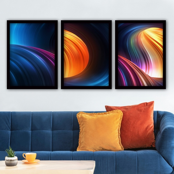 3SC187 Multicolor Decorative Framed Painting (3 Pieces)