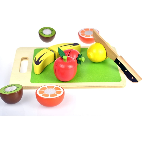 Cutting Fruits with Chopping Board Wooden Playset