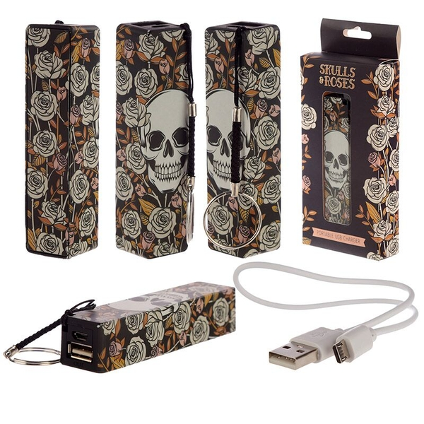 Skull & Roses Design Handy Portable USB Power Bank