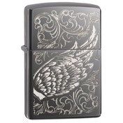 Zippo Filigree Flame and Wing Black Ice Finish Windproof Lighter