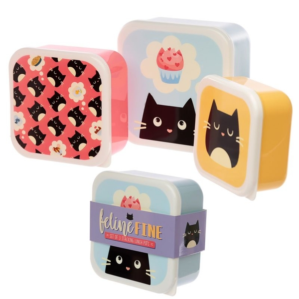 Set of 3 Lunch Boxes M/L/XL - Feline Fine Cat