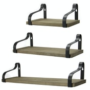 Set of 3 Rustic Shelves | M&W Weathered Grey