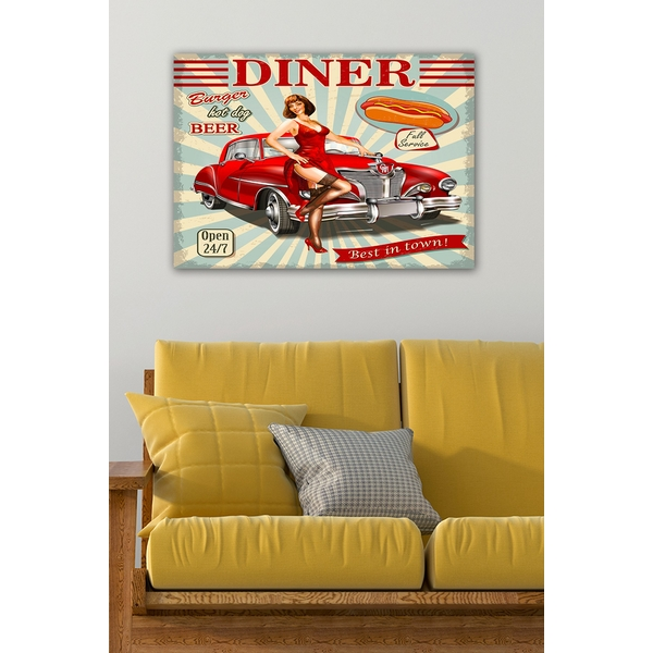 11146778550-5070 Multicolor Decorative Canvas Painting Diner