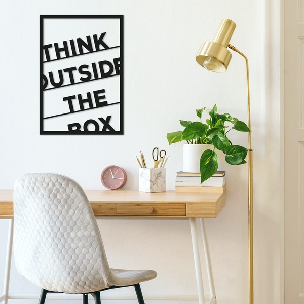 Think Outside The Box Black Decorative Metal Wall Accessory