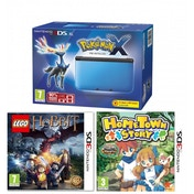 3DS XL Pokemon Console Blue with Pokemon X Hometown Story & LEGO The Hobbit