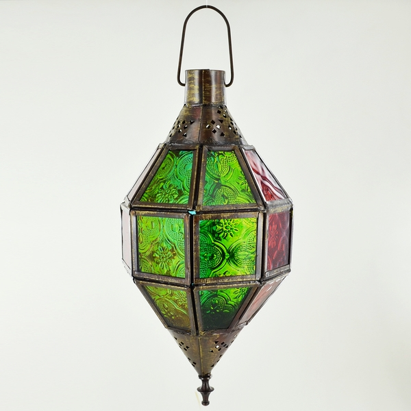 Iron Antique Copper Color Glass Hanging Lantern