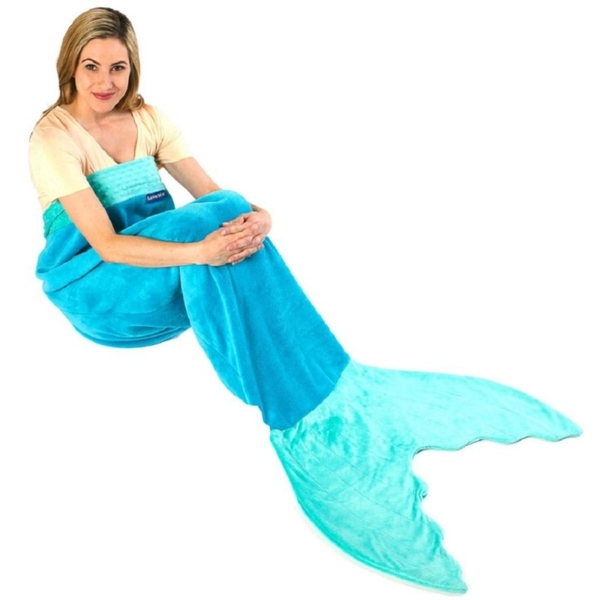 Mermaid Tail Blanket For Adults & Teens (Blue)