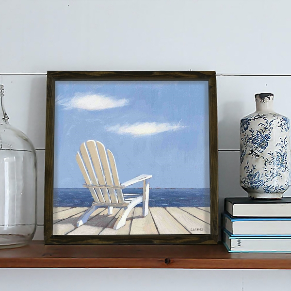 KZM442 Brown Blue White Decorative Framed MDF Painting