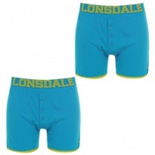 Lonsdale 2 Pack Mens Boxers Bright Blue & Lime Green Medium