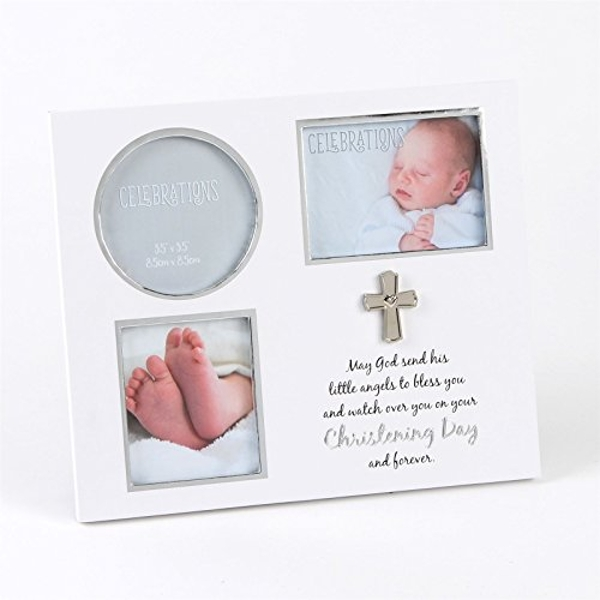 White & Silver Icon Christening Day Triple Frame