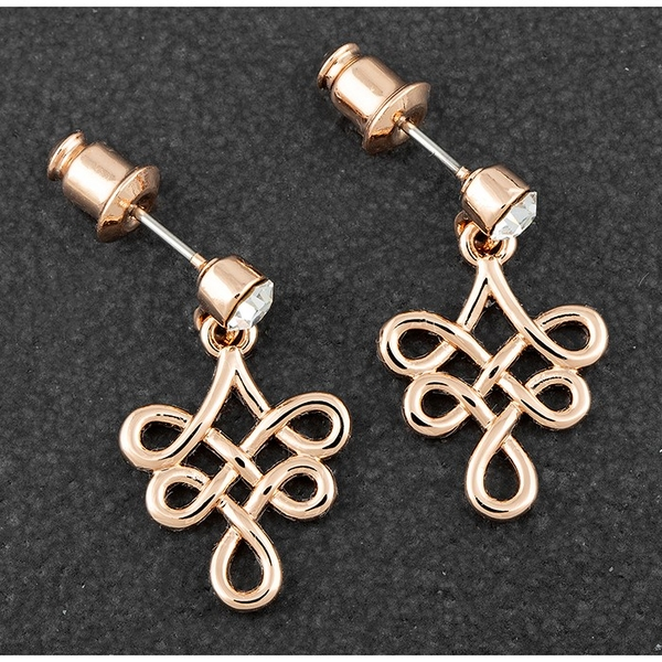 Celtic Suspend Knot Rose Gold Plated Earrings
