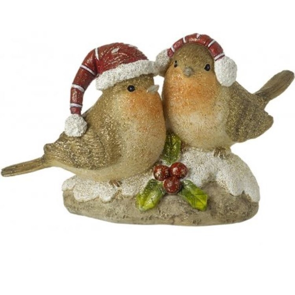 Perched Robin Couple Decoration
