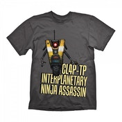 Borderlands Mens CL4P-TP Interplanetary Ninja Assassin XX-Large T-Shirt - Grey