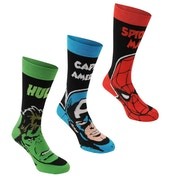 Marvel 3 Pack Crew Socks UK Size 7-11 (Multicoloured)