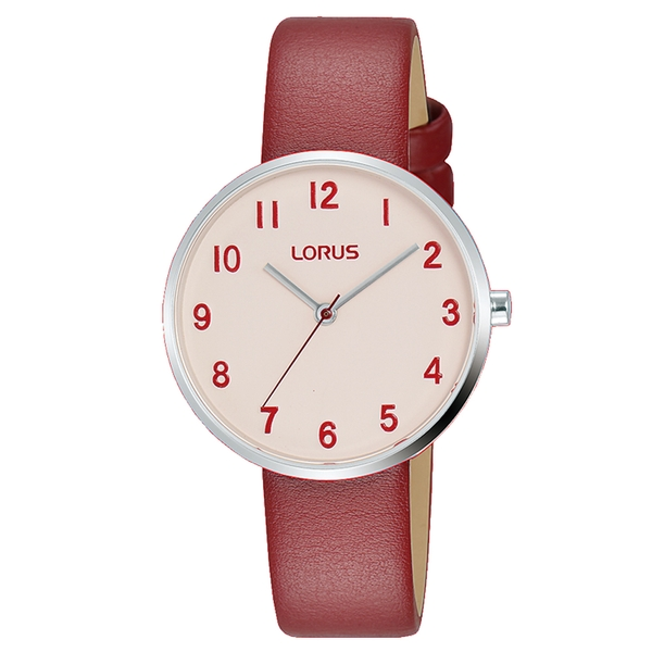 Lorus RG227SX9 Ladies Soft Pink Dial Red Leather Strap Watch