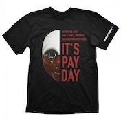 Payday 2 Mens Wolf Mask XX Large T-Shirt, Black
