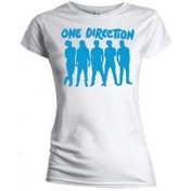 One Direction Silhouette Blue on Wht Skinny TS: Medium