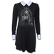 Witch Nights Women's Large Peterpan Collar Baby Doll Long Sleeve Dress - Black - Image 2
