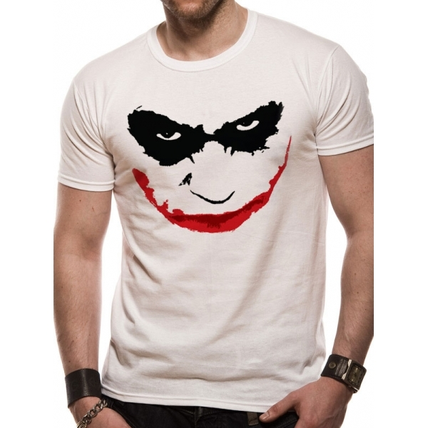 Batman The Dark Knight Joker Smile Outline T-Shirt Large - White