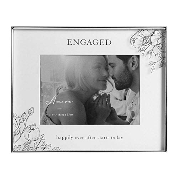 "7"" x 5"" - AMORE BY JULIANA? Floral Frame - Engaged Happily"