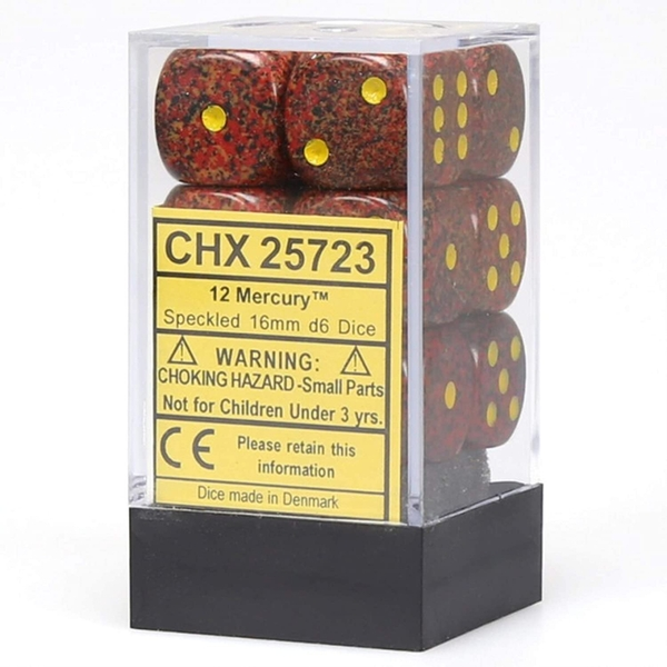 Chessex Mercury: Speckled D6 Set of 12 - 16mm