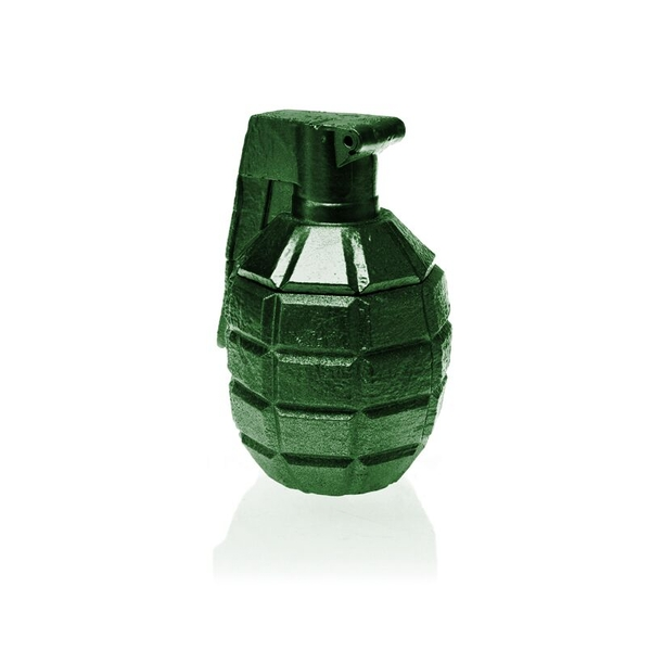 Green Metallic Concrete Grenade For Him Candle