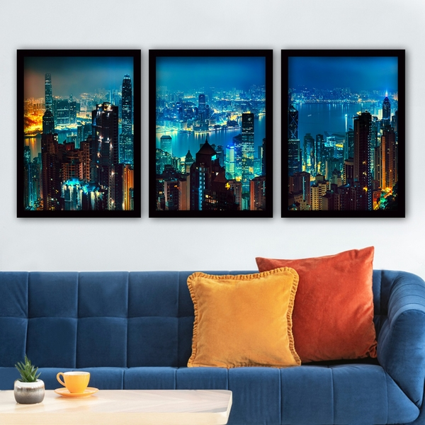 3SC08 Multicolor Decorative Framed Painting (3 Pieces)