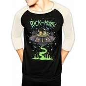 Rick And Morty Spaceship Unisex Small Baseball Shirt - Black