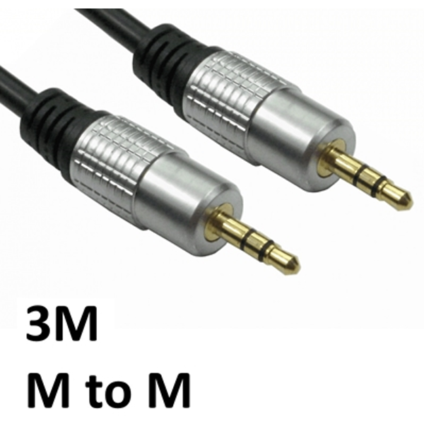 3.5mm (M) Stereo Plug to 3.5mm (M) Stereo Plug 3m Black with Gold Connectors OEM Cable