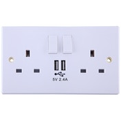 Power Knight 2 Socket 13A 2 USB 2.4A White UK Plug