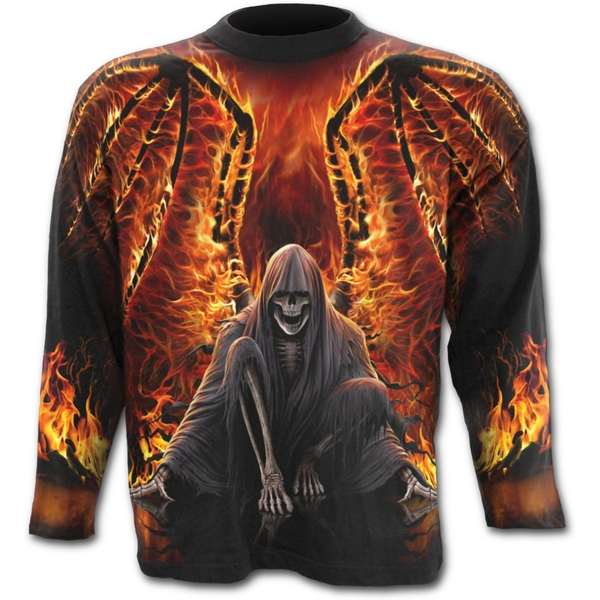 Flaming Death Allover Men's Large Long Sleeve T-Shirt - Black