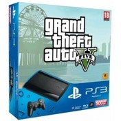 500GB Super Slim Console with Grand Theft Auto V Game PS3