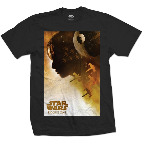 Star Wars - Rogue One Jyn Silhouette Unisex Large T-Shirt - Black